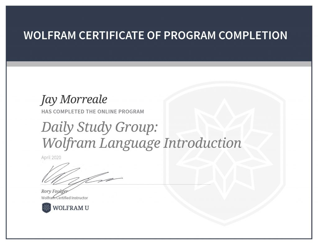 Wolfram Certificate of Program Completion