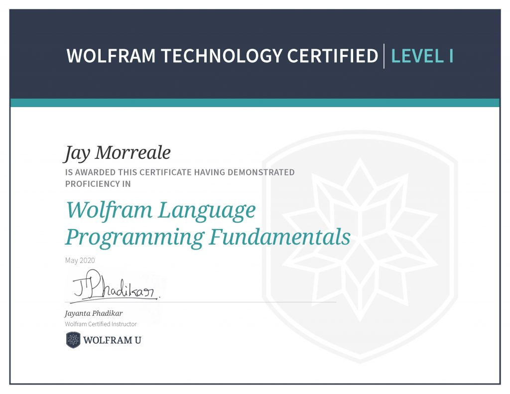 Wolfram Technology Certified Level 1 Wolfram Language Programming Fundamentals