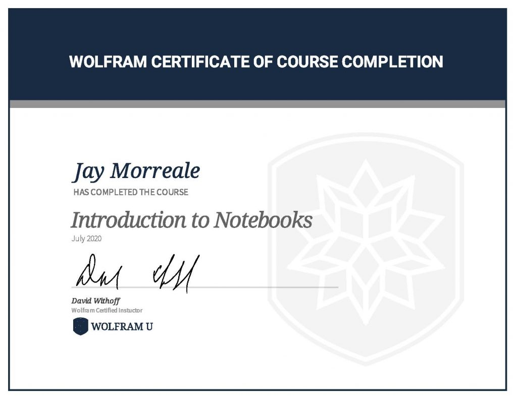 Wolfram Certificate of Course Completion, Introduction to Notebooks